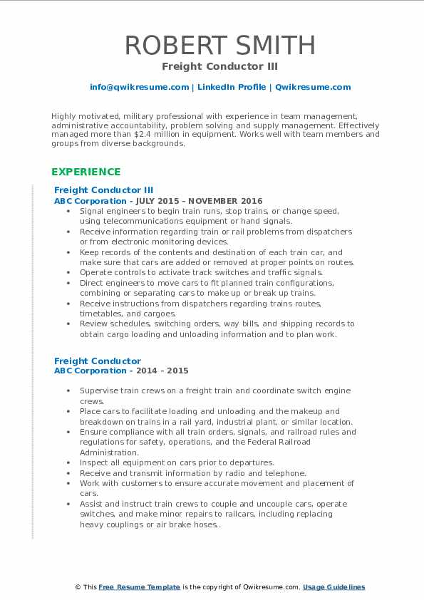Freight Conductor III Resume Model