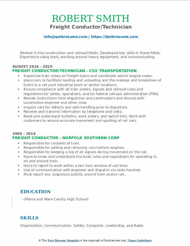 Freight Conductor/Technician Resume Sample