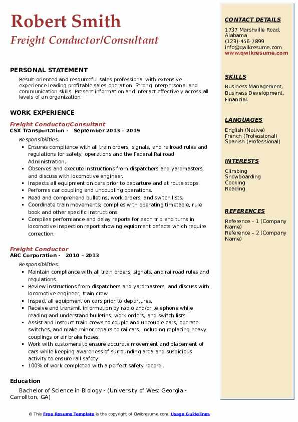 Freight Conductor/Consultant Resume Template