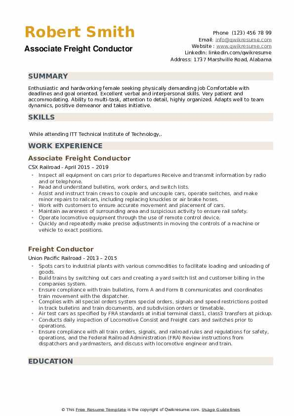 Associate Freight Conductor Resume Model
