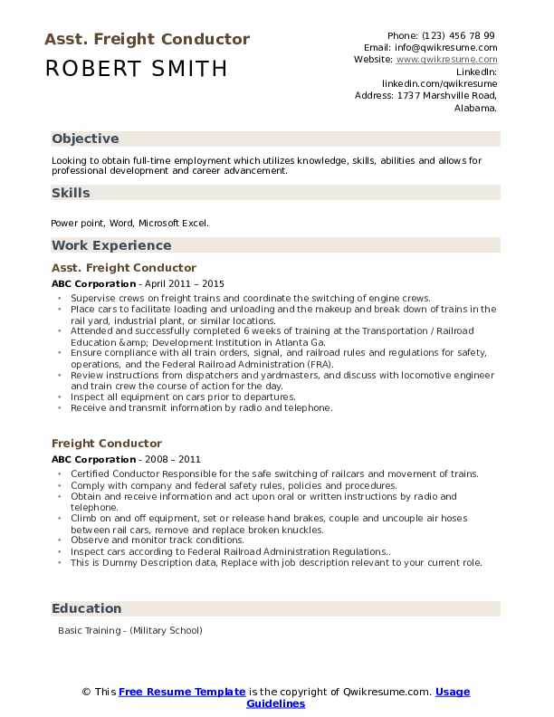 Asst. Freight Conductor Resume Model