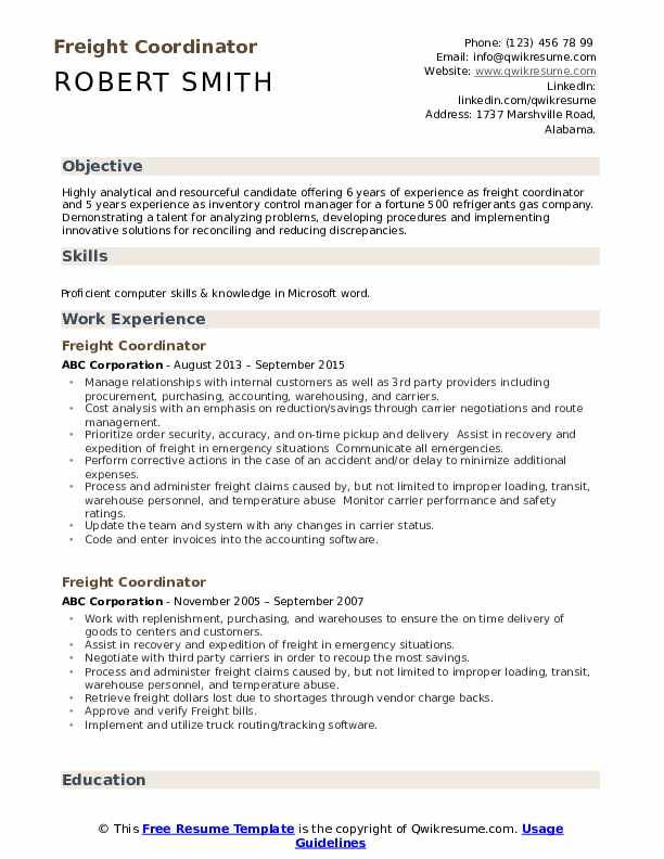 Freight Coordinator Resume Format