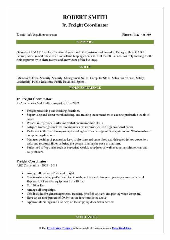 Jr. Freight Coordinator Resume Template