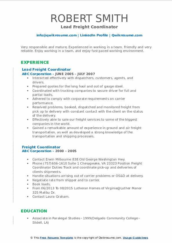 Lead Freight Coordinator Resume Model