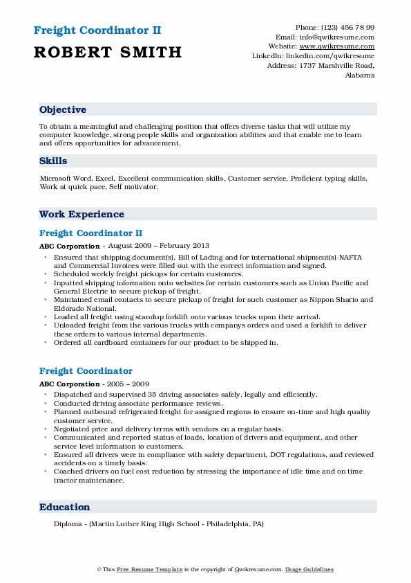 Freight Coordinator II Resume Example
