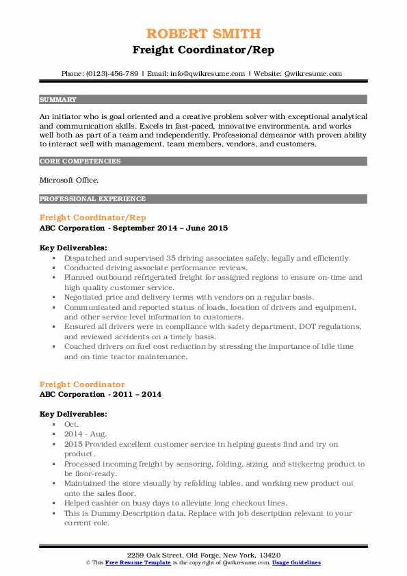 Freight Coordinator/Rep Resume Template