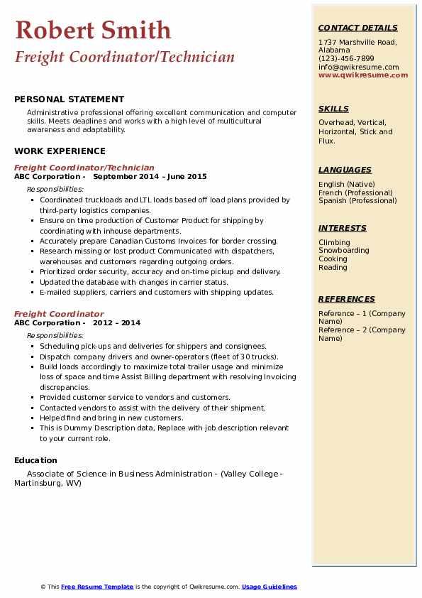 Freight Coordinator/Technician Resume Model