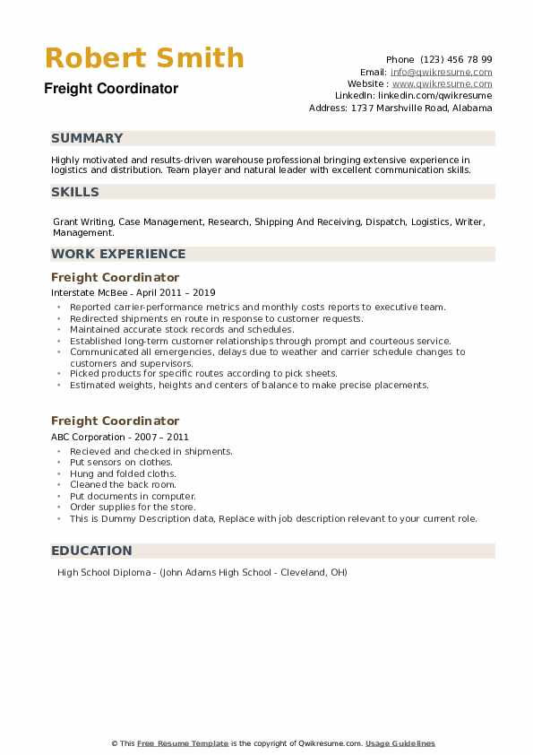 Freight Coordinator Resume example