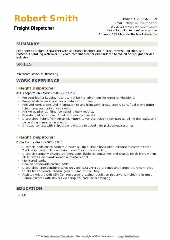 Freight Dispatcher Resume example