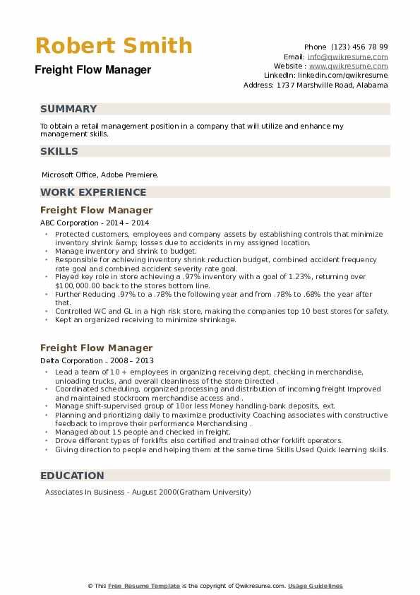 Freight Flow Manager Resume example