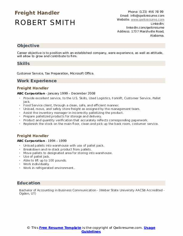 Freight Handler Resume example