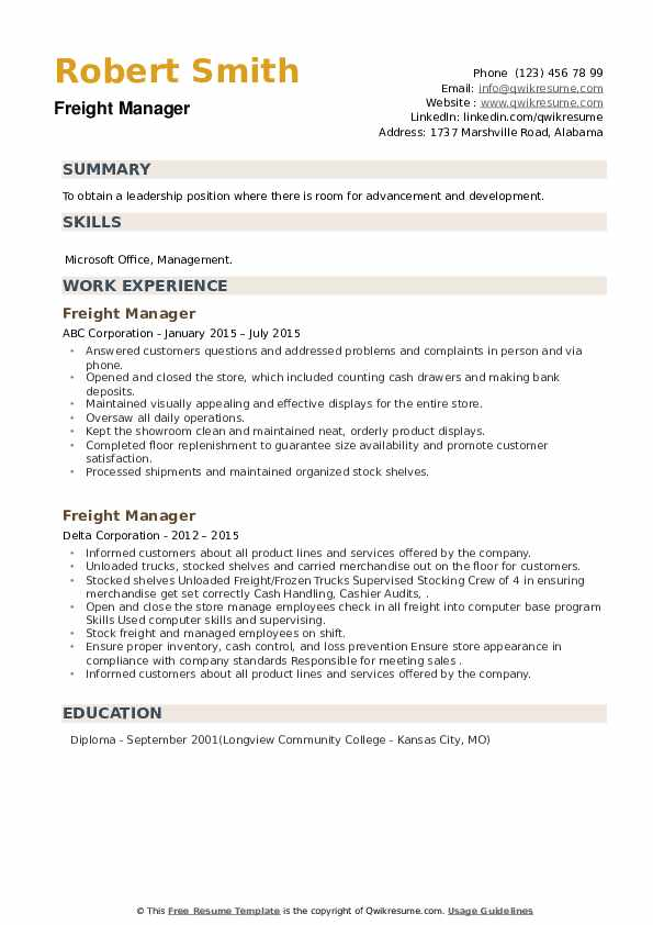 Freight Manager Resume example