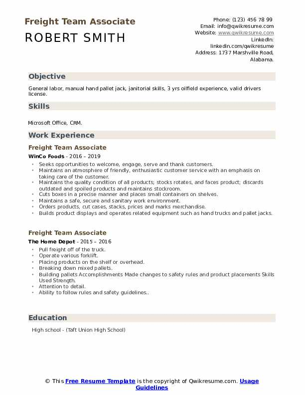 Freight Team Associate Resume Sample