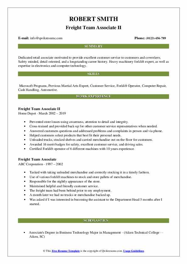Freight Team Associate II Resume Example