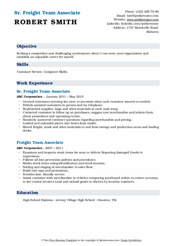 Sr. Freight Team Associate Resume Template