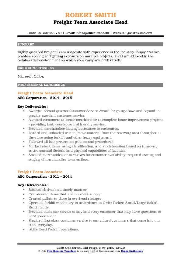 Freight Team Associate Head Resume Model