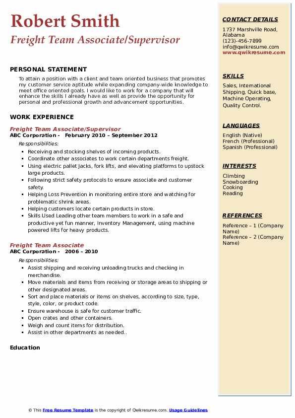 freight team associate resume samples