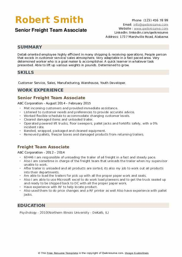 Senior Freight Team Associate Resume Sample