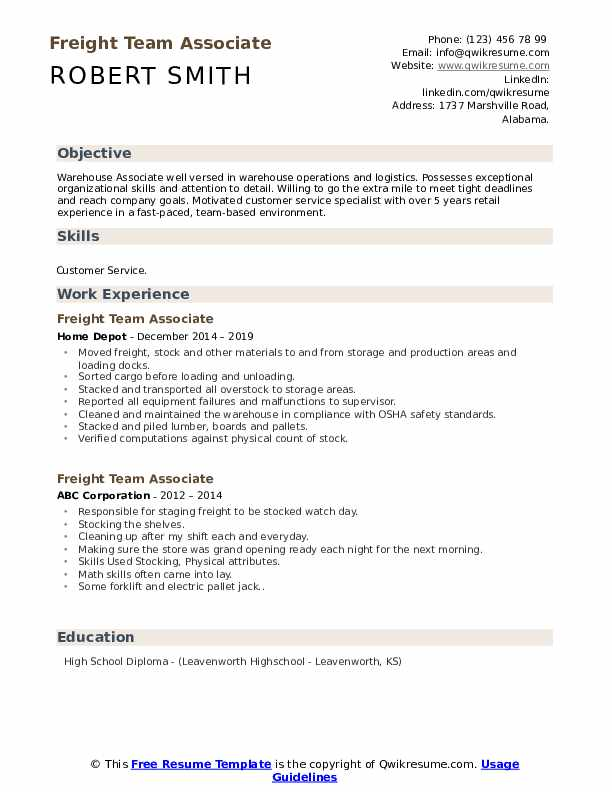 Freight Team Associate Resume Example
