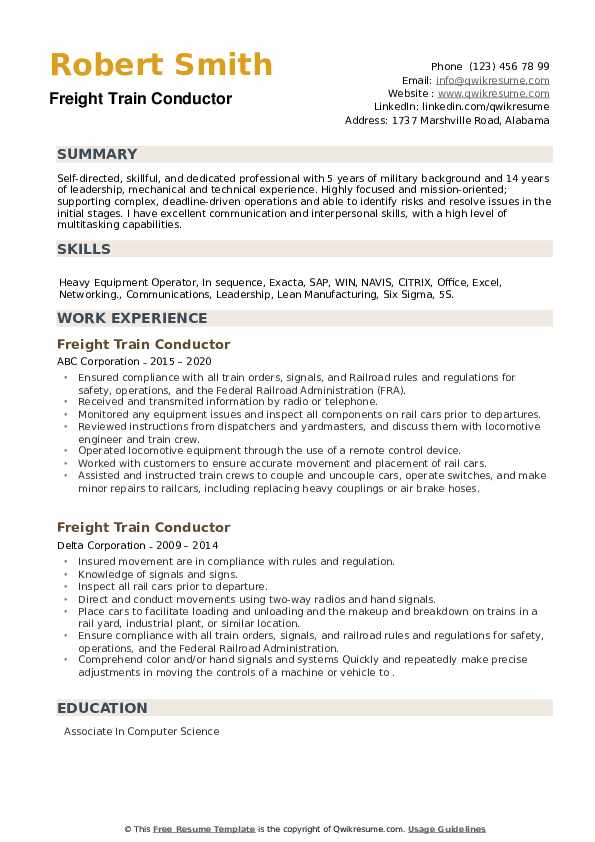 Freight Train Conductor Resume example