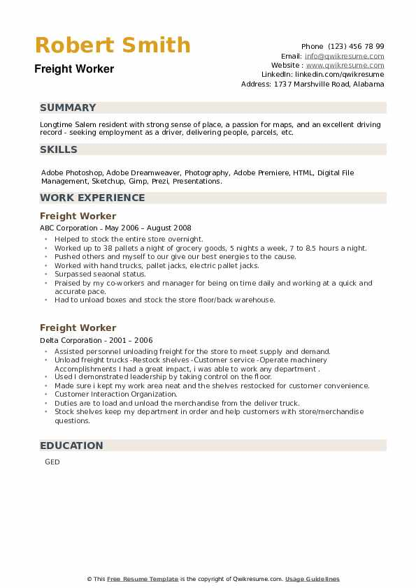 Freight Worker Resume example