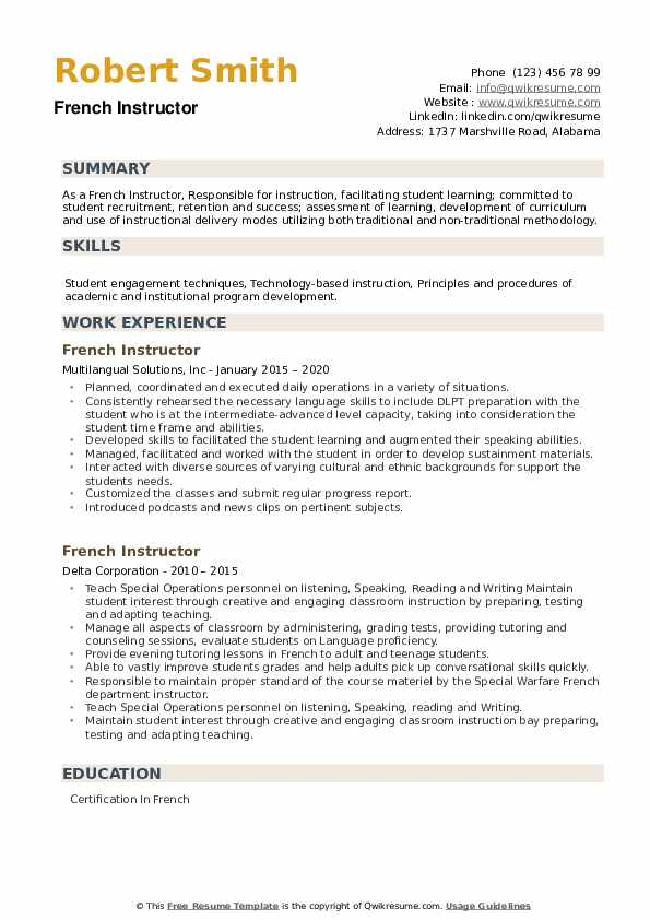 French Instructor Resume example