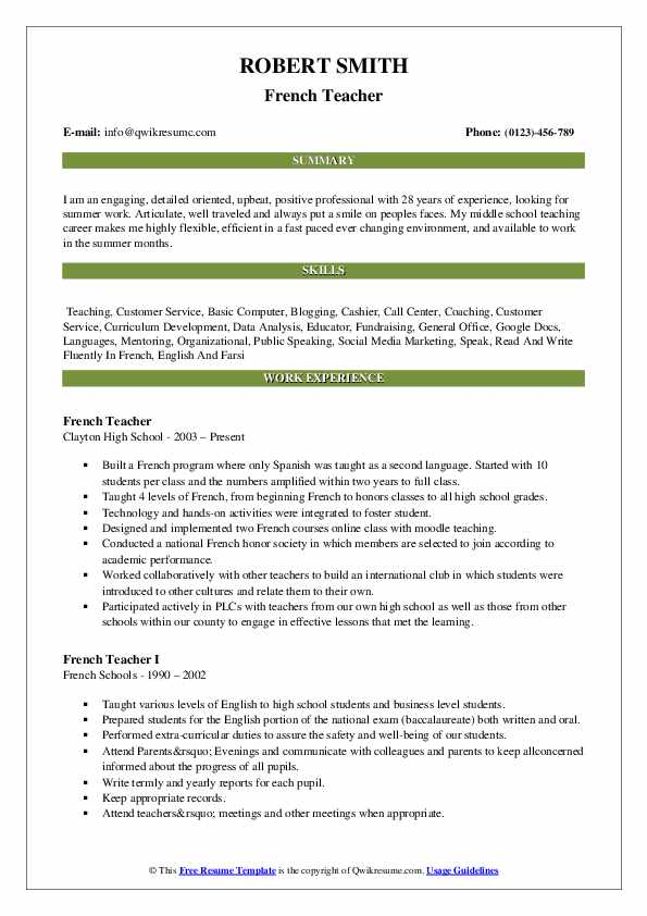 french teacher resume samples