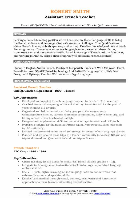 Assistant French Teacher Resume Format