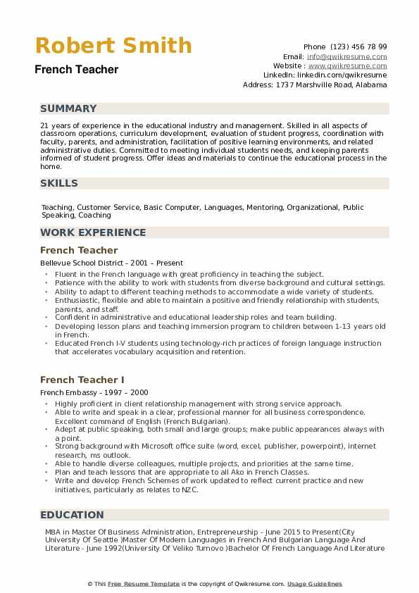 French Teacher Resume Samples Qwikresume