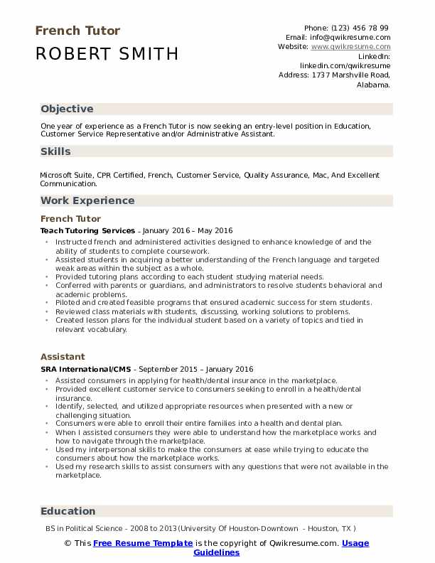 french tutor resume samples