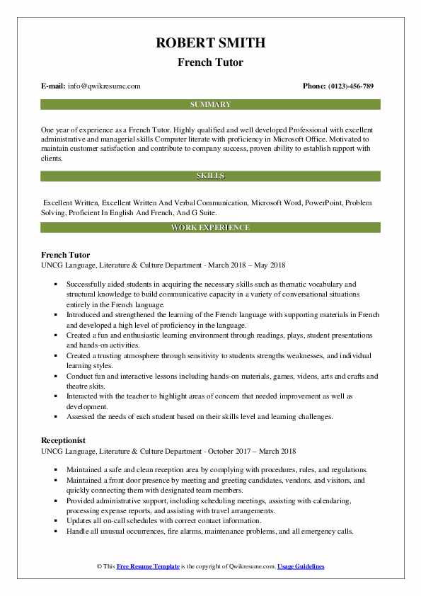 French Tutor Resume Sample