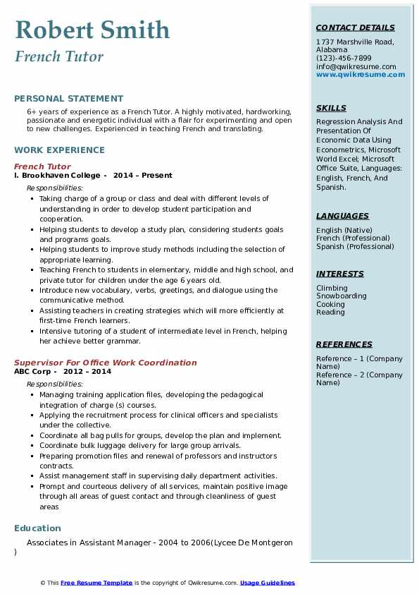 French Tutor Resume Model