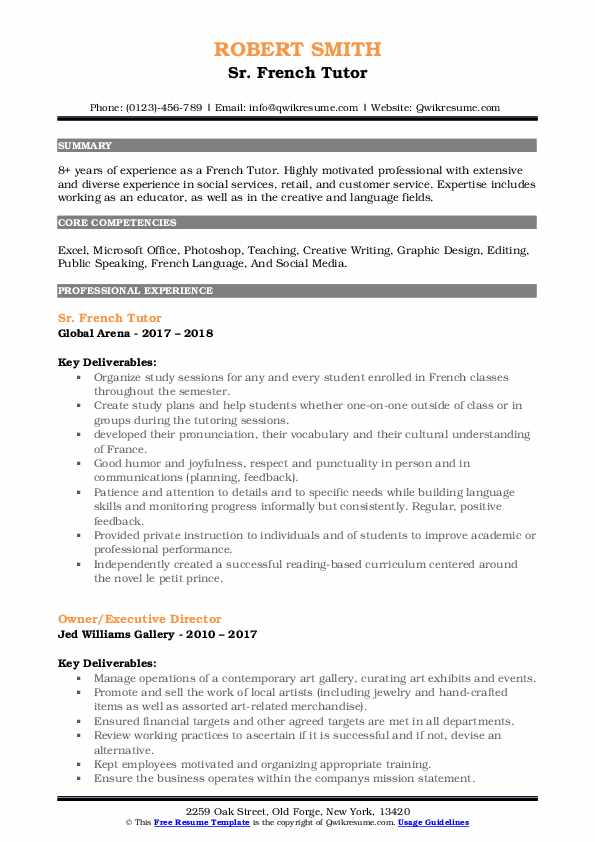 Sr. French Tutor Resume Template