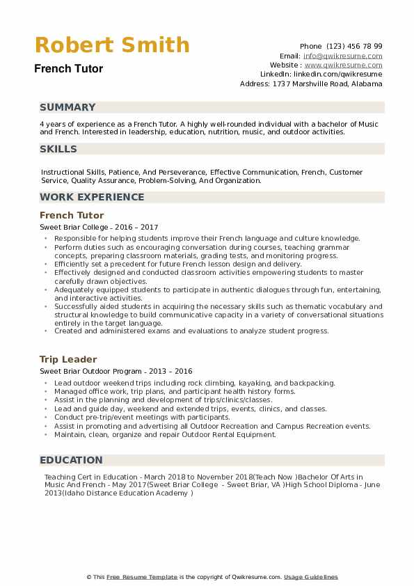French Tutor Resume example