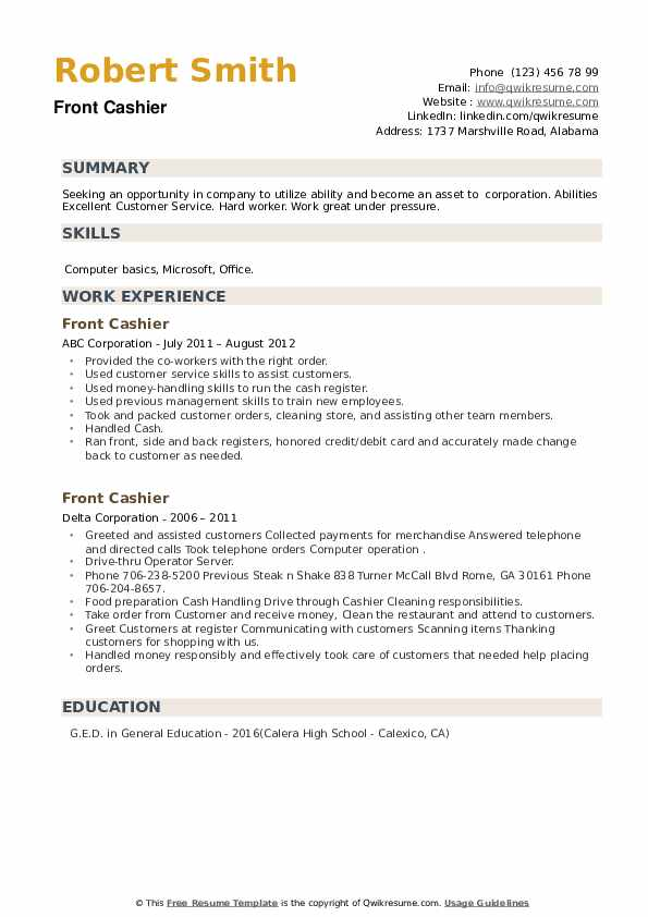 Front Cashier Resume example