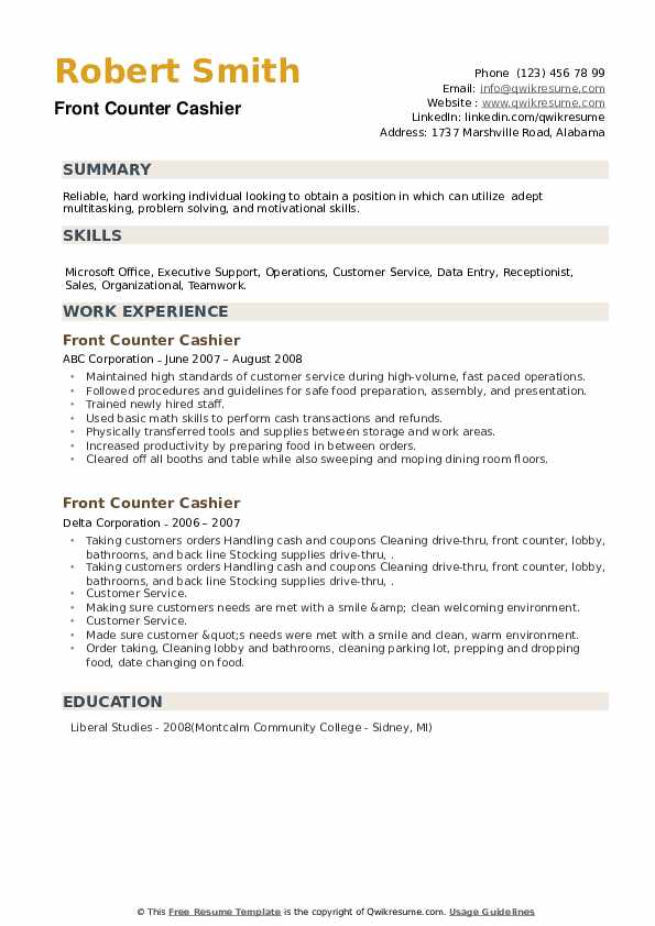 Front Counter Cashier Resume example