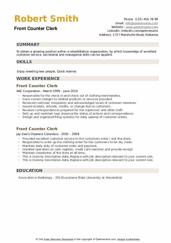 Front Counter Clerk Resume example