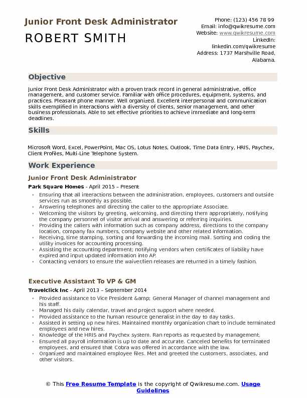 Junior Front Desk Administrator  Resume Model