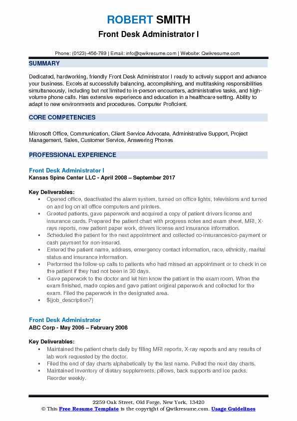 Front Desk Administrator I Resume Format