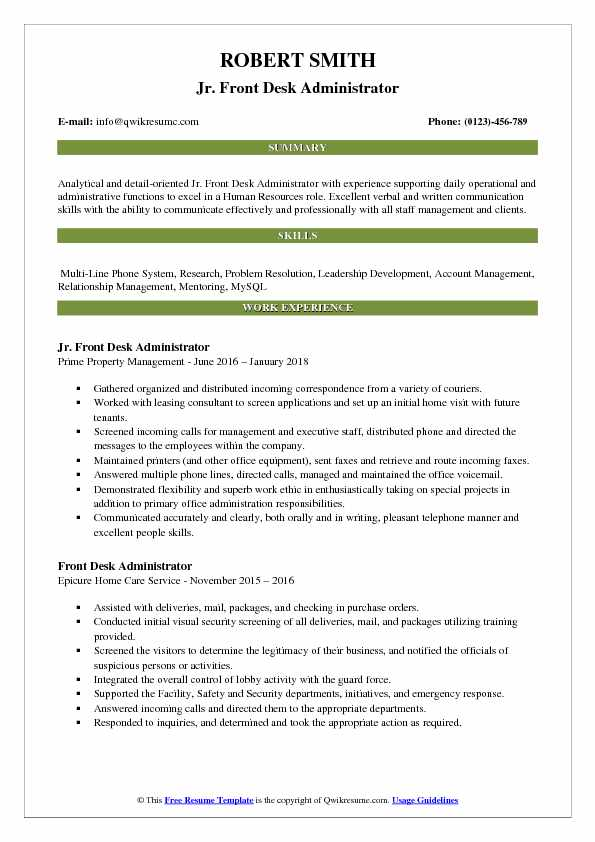 Jr. Front Desk Administrator Resume Example