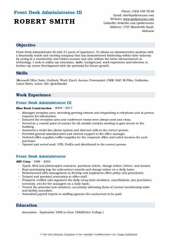 Front Desk Administrator III Resume Example