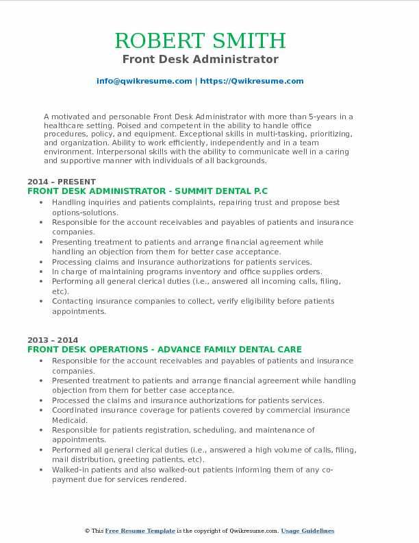 Front Desk Administrator Resume Format