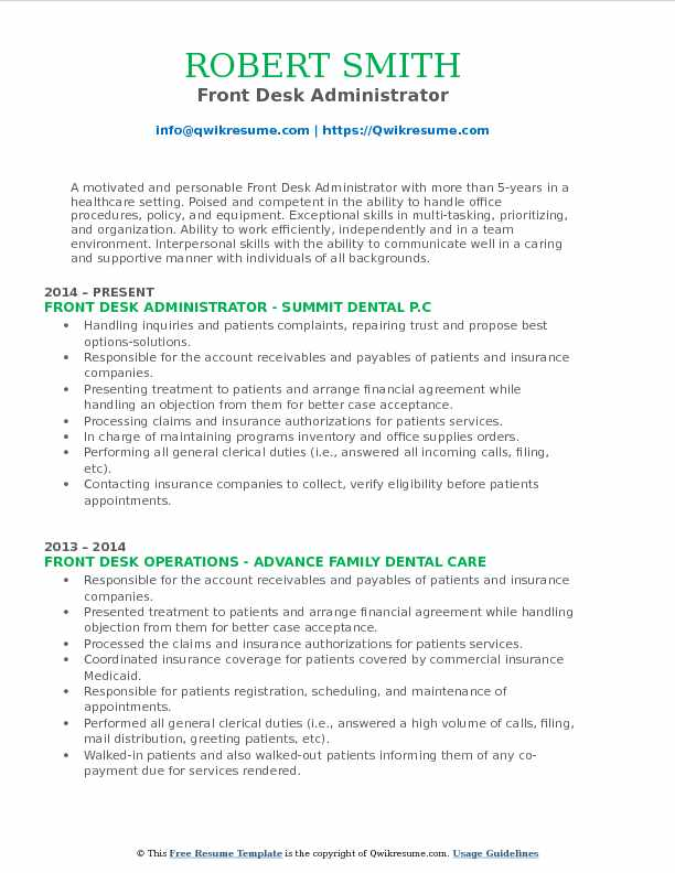 Front Desk Administrator Resume Sample