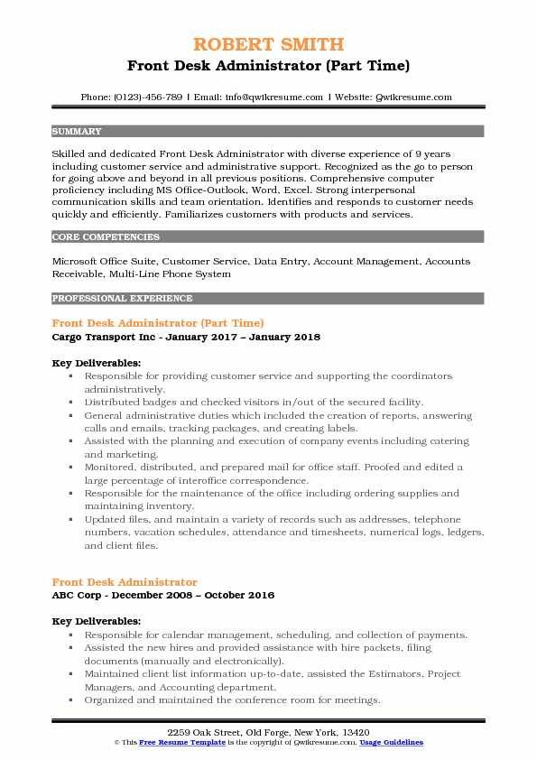 Front Desk Administrator (Part Time) Resume Sample