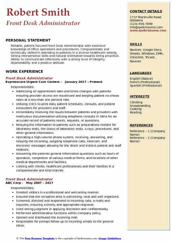 Front Desk Administrator Resume Sample