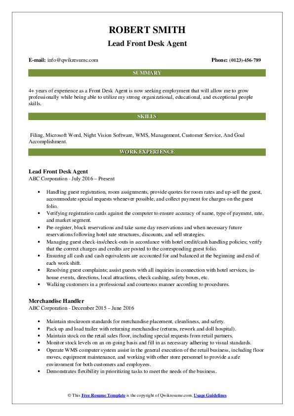 Lead Front Desk Agent Resume Example