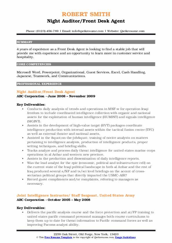 Night Auditor/Front Desk Agent Resume Example