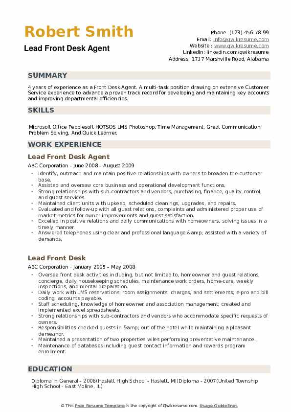 Front Desk Agent Resume example