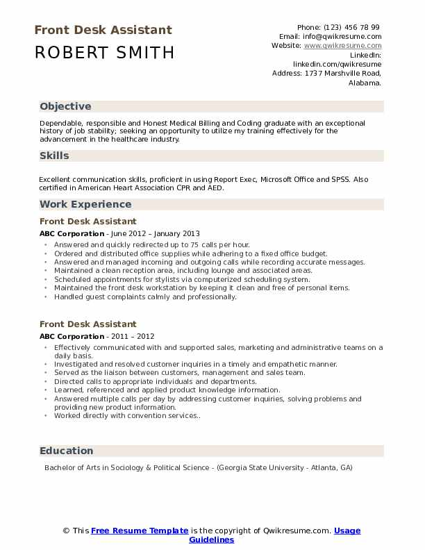 Front Desk Assistant Resume Template