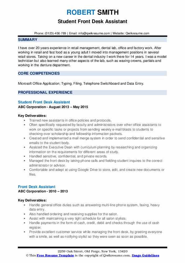 Student Front Desk Assistant Resume Template